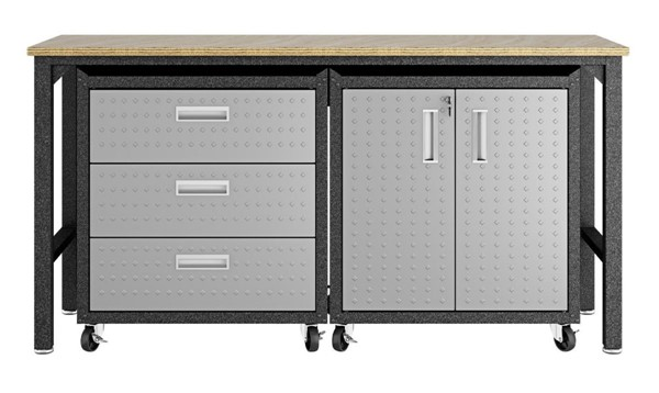 Manhattan Comfort Fortress Grey 3pc Cabinet and Work Table Set 3.0 MHC-16GMC