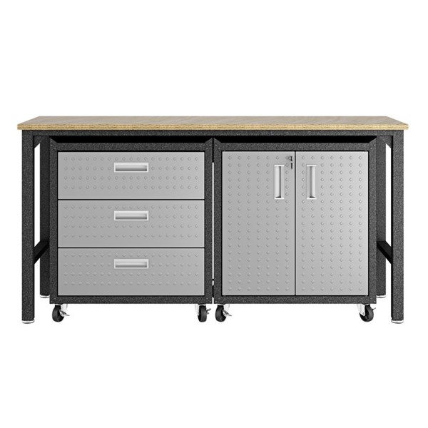 Manhattan Comfort Fortress 3.0 Grey 3pc Cabinet And Work Table Set MHC-16GMC