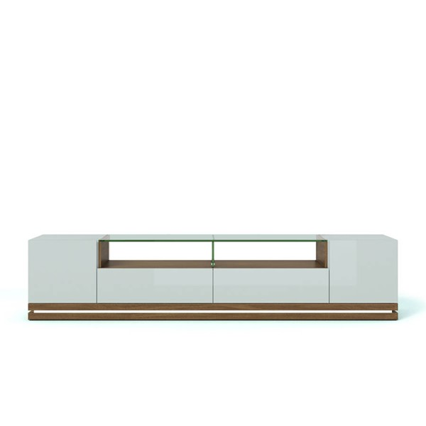 Manhattan Comfort Vanderbilt Off White LED Lights TV Stand MHC-17554