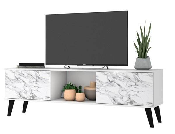 Manhattan Comfort Doyers White Marble Stamp 62.20 Inch TV Stand MHC-175AMC208
