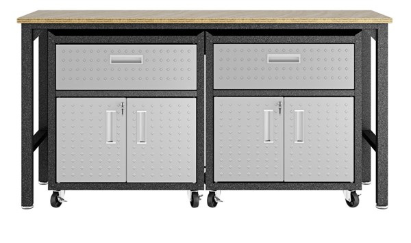 Manhattan Comfort Fortress Grey 3pc Cabinet and Work Table Set 4.0 MHC-17GMC