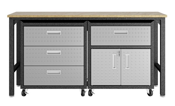 Manhattan Comfort Fortress Grey 3pc Cabinet and Work Table Set 5.0 MHC-18GMC