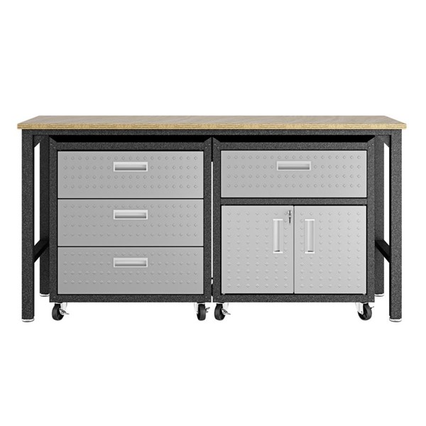 Manhattan Comfort Fortress 5.0 Grey 3pc Cabinet And Work Table Set MHC-18GMC