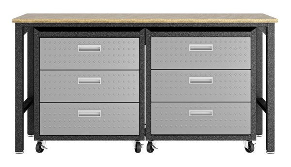 Manhattan Comfort Fortress Grey 3pc Cabinet and Work Table Set 6.0 MHC-19GMC