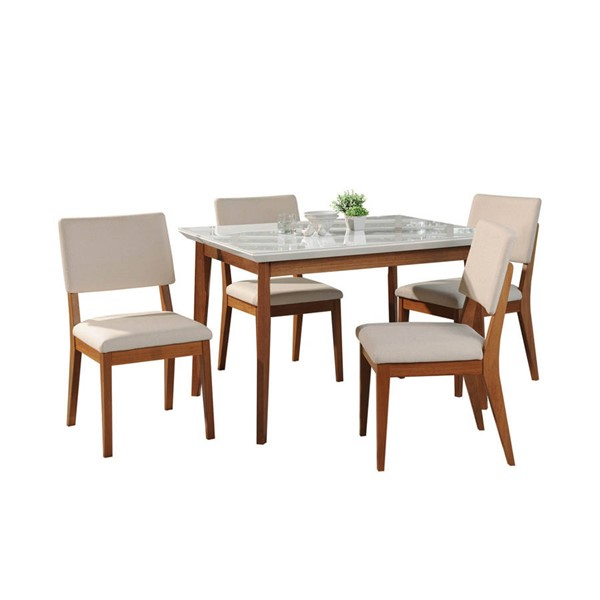 Manhattan Comfort Lillian Dover White Gloss 45.66 Inch 5pc Dining Set MHC-2-1011851109351