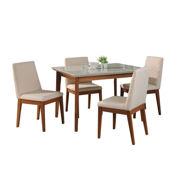 Manhattan Comfort Lillian Catherine Off White 45.66 Inch 5pc Dining Set MHC-2-1011852109051