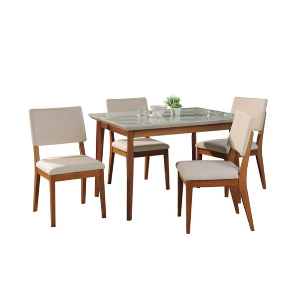 Manhattan Comfort Lillian Dover Off White 45.66 Inch 5pc Dining Set MHC-2-1011852109351