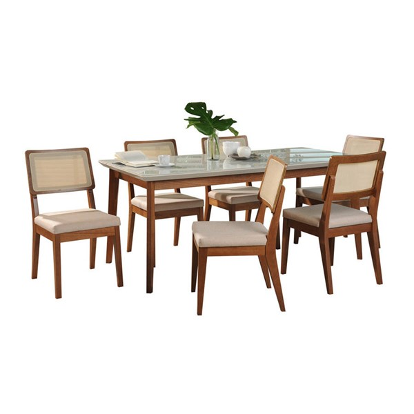 Manhattan Comfort Lillian Pell Off White 62.99 Inch 7pc Dining Set MHC-2-10119521011752