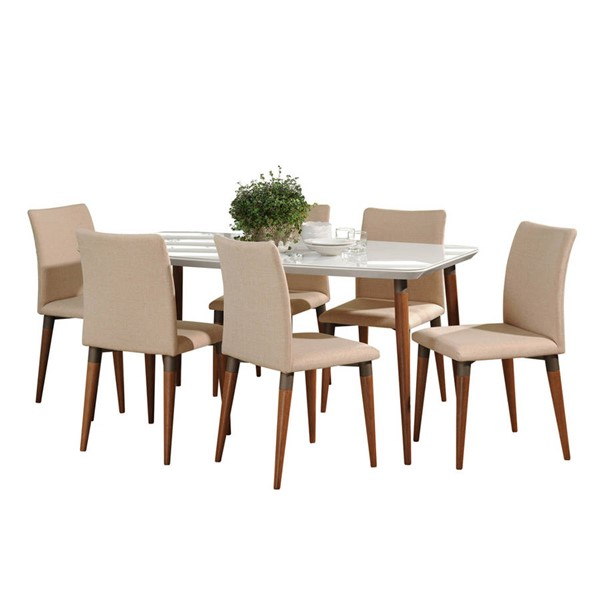 Manhattan Comfort Charles White Gloss 62.99 Inch 7pc Dining Set with Dark Beige Chair MHC-2-10127511011452