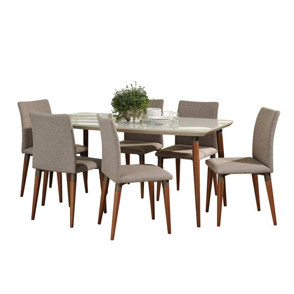 Manhattan Comfort Charles Off White 62.99 Inch 7pc Dining Set with Grey Chair MHC-2-10127521011453