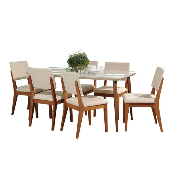 Manhattan Comfort Charles Dover Off White 62.99 Inch 7pc Dining Set MHC-2-1012752109351