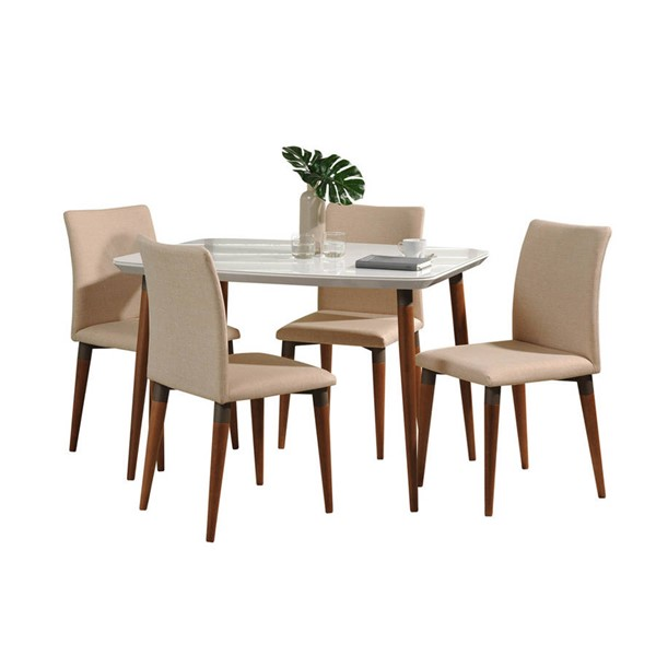 Manhattan Comfort Charles White Gloss 45.27 Inch 5pc Dining Set with Dark Beige Chair MHC-2-10128511011452
