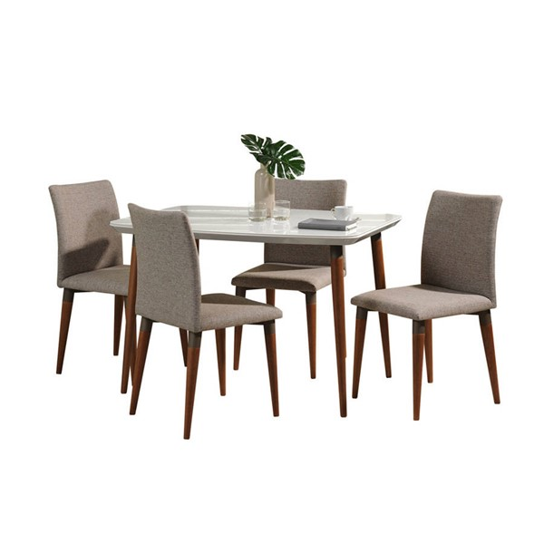Manhattan Comfort Charles White Gloss 45.27 Inch 5pc Dining Set with Grey Chair MHC-2-10128511011453