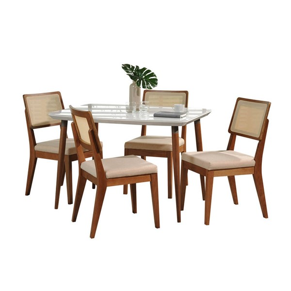 Manhattan Comfort Charles Pell White Gloss 45.27 Inch 5pc Dining Set MHC-2-10128511011752