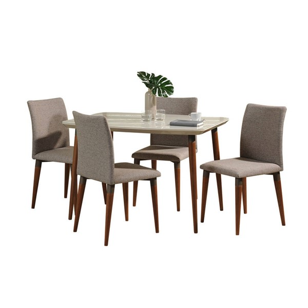 Manhattan Comfort Charles Off White 45.27 Inch 5pc Dining Set with Grey Chair MHC-2-10128521011453