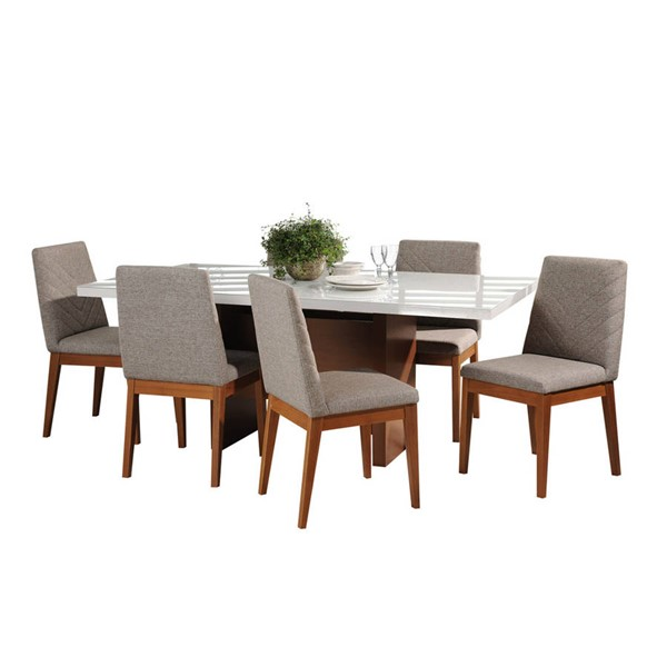 Manhattan Comfort Dover Catherine White Gloss 72.04 Inch 7pc Dining Set MHC-2-1013851109052