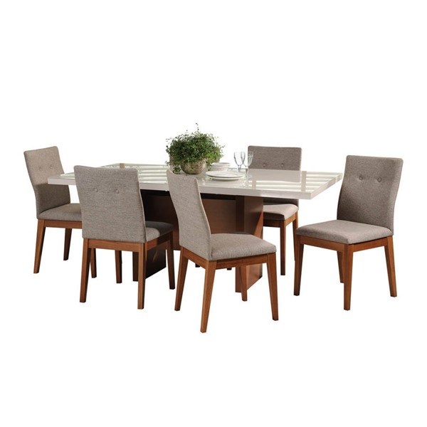 Manhattan Comfort Dover Leroy Off White 72.04 Inch 7pc Dining Set MHC-2-10138521011553