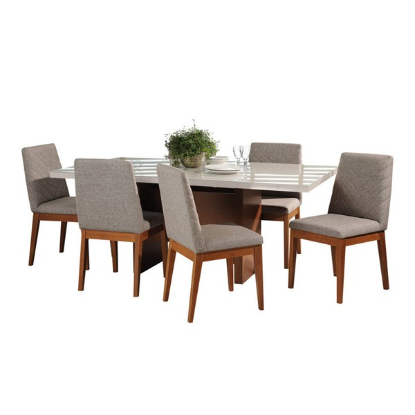 Manhattan Comfort Dover Catherine Off White 72.04 Inch 7pc Dining Set MHC-2-1013852109052