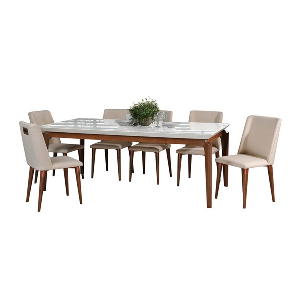 Manhattan Comfort Payson Tampa White Gloss 82.67 Inch 7pc Dining Set MHC-2-10141511011652