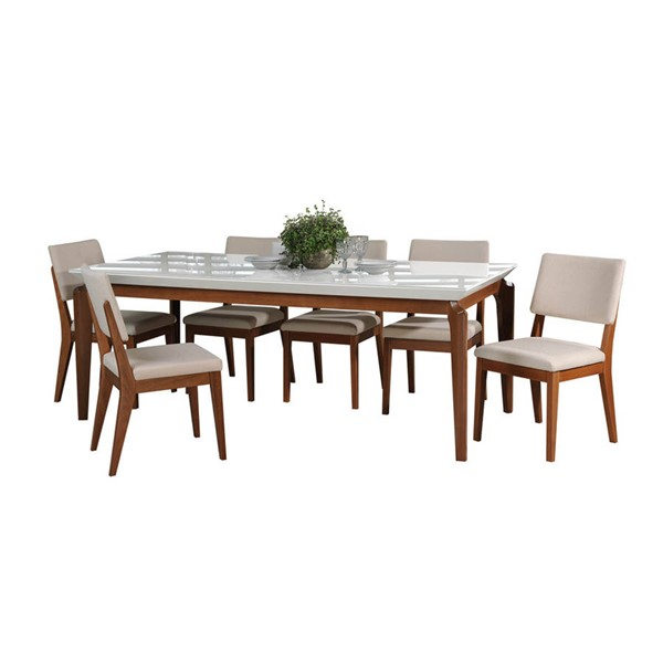 Manhattan Comfort Payson Dover White Gloss 82.67 Inch 7pc Dining Set MHC-2-1014151109351