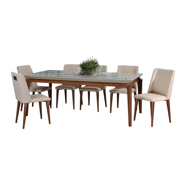 Manhattan Comfort Payson Tampa Off White 82.67 Inch 7pc Dining Set MHC-2-10141521011652