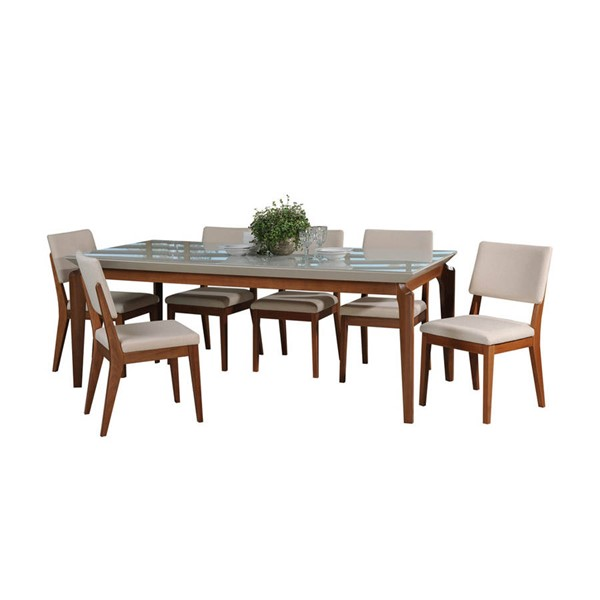 Manhattan Comfort Payson Dover Off White 82.67 Inch 7pc Dining Set MHC-2-1014152109351