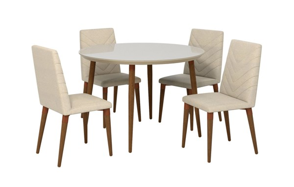 Manhattan Comfort Utopia Off White Round 5pc Dining Table Set with Beige Chairs MHC-2-1015052109251