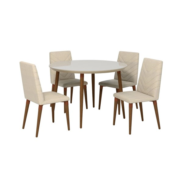 Manhattan Comfort Utopia Beige MDF 5pc Round Dining Room Set MHC-2-1015052109251
