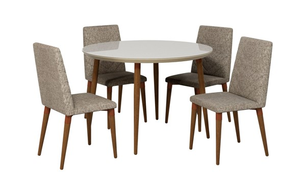 Manhattan Comfort Utopia Off White Round 5pc Dining Table Set with Grey Chairs MHC-2-1015052109253