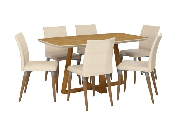 Manhattan Comfort Duffy and Charles Cinnamon Wood Beige Fabric 7pc Dining Chair Set MHC-2-10184511011452