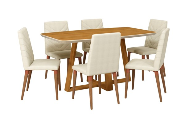 Manhattan Comfort Duffy and Utopia Cinnamon Wood Beige Fabric 7pc Dining Chair Set MHC-2-1018451109251