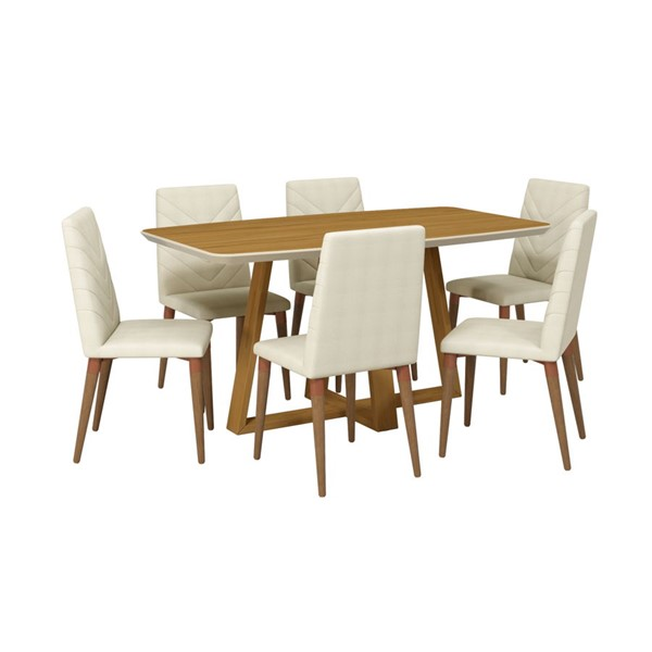 Manhattan Comfort Duffy and Utopia Beige MDF 7pc Rectangle Dining Room Set MHC-2-1018451109251