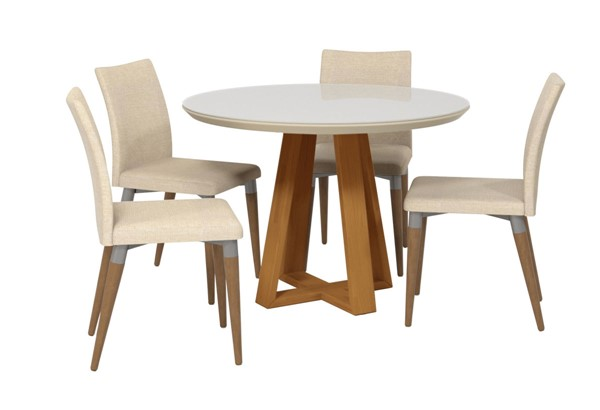 Manhattan Comfort Duffy and Charles Off White Wood Beige Fabric 5pc Dining Chair Set MHC-2-10185511011452