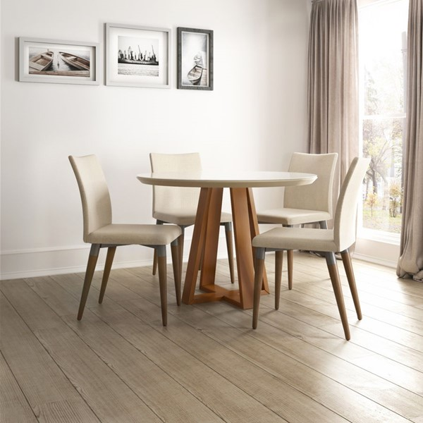 Manhattan Comfort Duffy and Charles MDF 5pc Round Dining Room Sets MHC-2-101855110114-DR-S-VAR