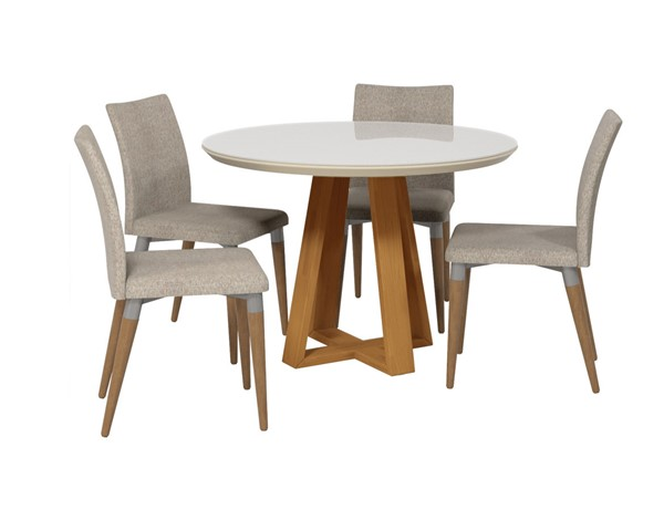 Manhattan Comfort Duffy and Charles Off White Wood Grey Fabric 5pc Dining Chair Set MHC-2-10185511011453