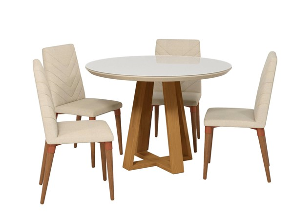 Manhattan Comfort Duffy And Utopia Off White Wood Beige Fabric 5pc Dining Chair Set MHC-2-1018551109251