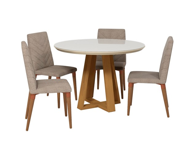 Manhattan Comfort Duffy And Utopia Off White Wood Grey Fabric 5pc Dining Chair Set MHC-2-1018551109253
