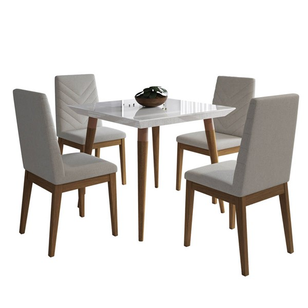 Manhattan Comfort Utopia Catherine White Gloss 35.43 Inch 5pc Dining Set with Beige Chair MHC-2-107251109051