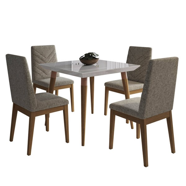 Manhattan Comfort Utopia Catherine Off White 35.43 Inch 5pc Dining Set with Grey Chair MHC-2-107252109052