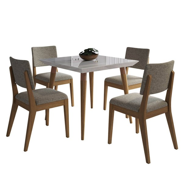 Manhattan Comfort Utopia Dover Off White 35.43 Inch 5pc Dining Set with Grey Chair MHC-2-107252109353