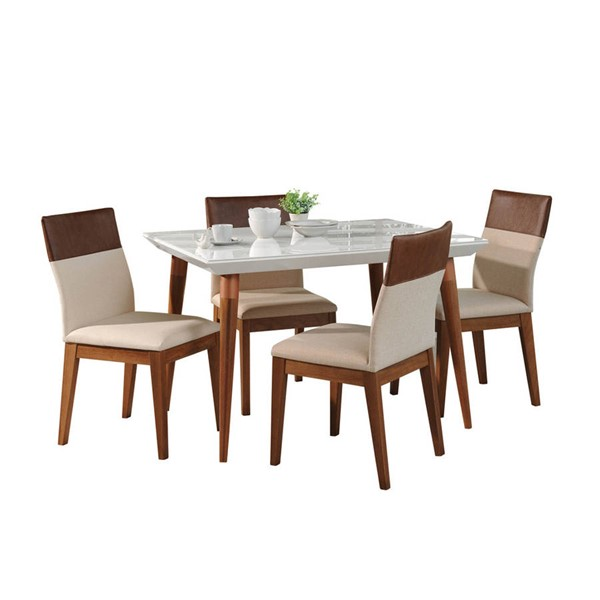 Manhattan Comfort Utopia Duke White Gloss 47.24 Inch 5pc Dining Set MHC-2-1073511011352