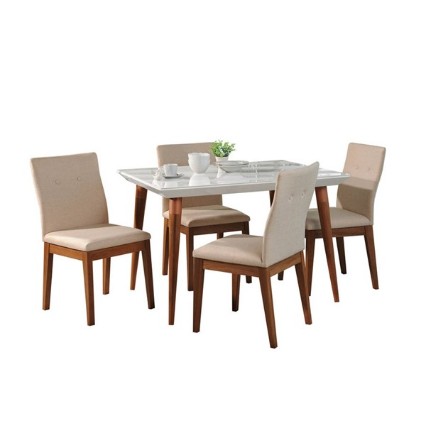 Manhattan Comfort Utopia Leroy White Gloss 47.24 Inch 5pc Dining Set MHC-2-1073511011551