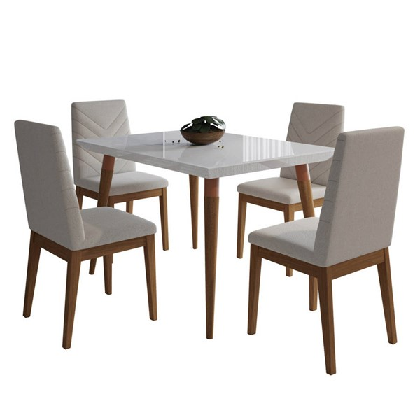 Manhattan Comfort Utopia Catherine White Gloss 47.24 Inch 5pc Dining Set with Beige Chair MHC-2-107351109051