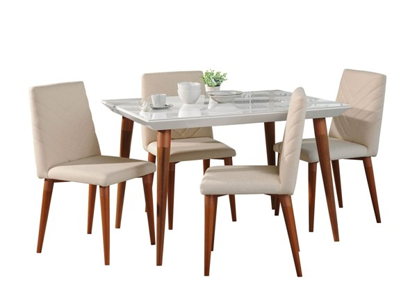 Manhattan Comfort Utopia White Wood 47.24 Inch 5pc Dining Set with Beige Chairs MHC-2-107351109251