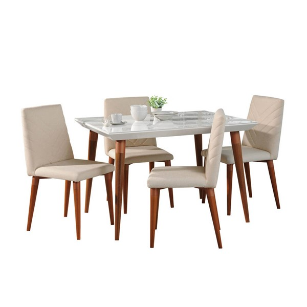 Manhattan Comfort Utopia White Gloss 47.24 Inch 5pc Dining Set MHC-2-107351109251