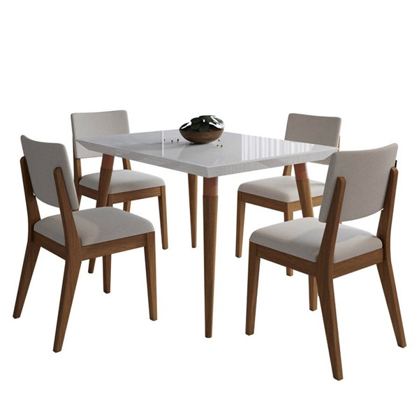 Manhattan Comfort Utopia Dover White Gloss 47.24 Inch 5pc Dining Set with Beige Chair MHC-2-107351109351