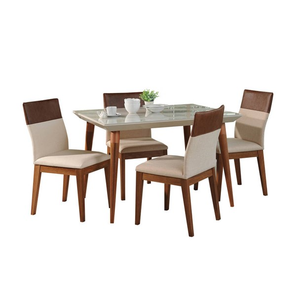 Manhattan Comfort Utopia Duke Off White 47.24 Inch 5pc Dining Set MHC-2-1073521011352