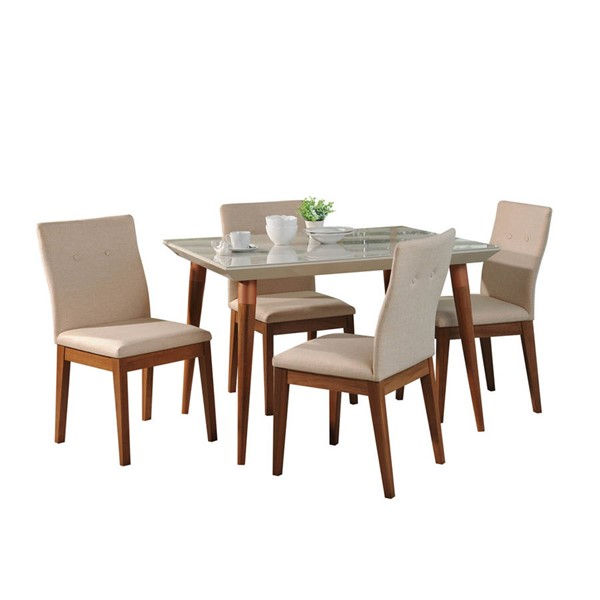 Manhattan Comfort Utopia Leroy Off White 47.24 Inch 5pc Dining Set MHC-2-1073521011552