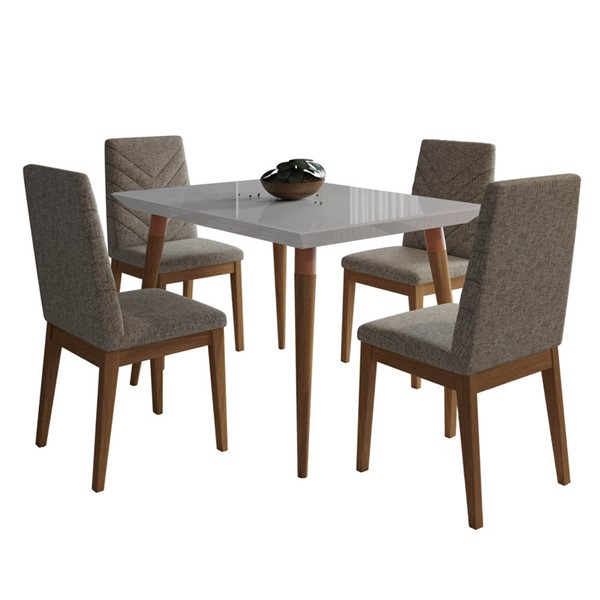 Manhattan Comfort Utopia Catherine Off White 47.24 Inch 5pc Dining Set with Grey Chair MHC-2-107352109052