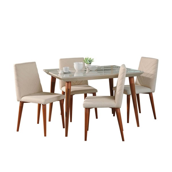 Manhattan Comfort Utopia Off White 47.24 Inch 5pc Dining Set MHC-2-107352109251